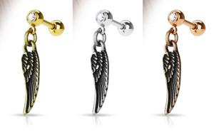 Angel Wing Dangle 316L Surgical Steel Jewel set Cartilage/Tragus Barbells