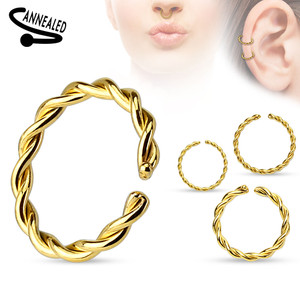 Braided Surgical Steel Annealed Cuff Ring in Gold
