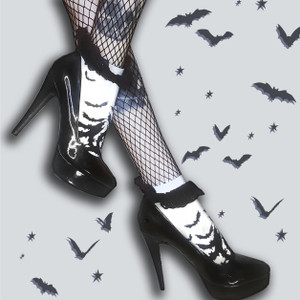 Fly Me To The Moon Bats Eyelet Lace Ankle Bobby Socks