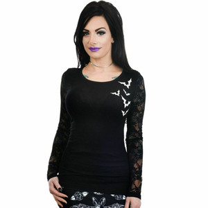 Flying Halloween Bats Kelly Lace Back Top