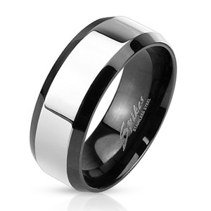 Glossy Center with Beveled Edge Two Tone Stainless Steel Band Ring