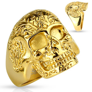 Gold IP Floral Pattern Skull Stainless Steel Rings