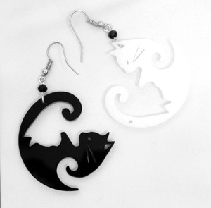 Ying Yang Kitties Acrylic Earrings