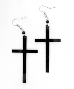 Thin Cross Acrylic Earrings
