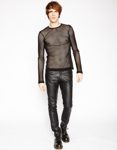 Men's Black Long Sleeve Fishnet