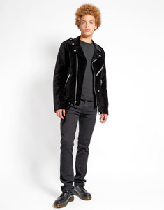 Men's Black Velvet Moto Jacket