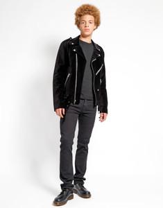 Men's Black Velvet Biker Jacket
