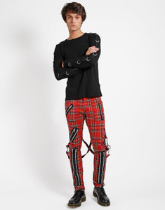 Men's Classic Slim Leg Red Plaid Bondage Pant