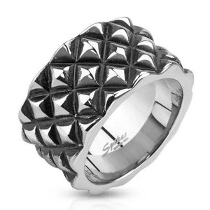 Men's Diamond Scale Patterned Cast Ring Stainless Steel