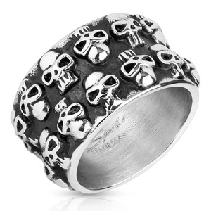 Double Strand Skull Stainless Steel Ring