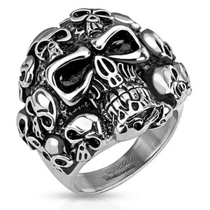 Skull Cluster Stainless Steel Ring
