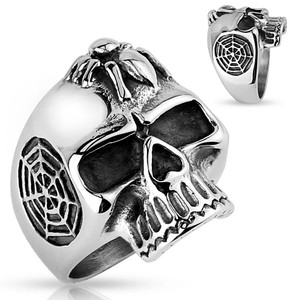 Skull and Spider Stainless Steel Ring