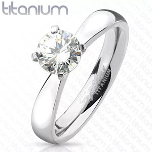 Round Cut Solitaire CZ Titanium Engagement Ring