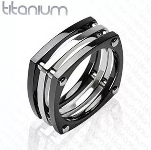 Squared Black IP with Bolts Ring Solid Titanium