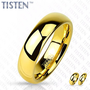 Glossy Mirror Polished Gold IP Tisten Ring