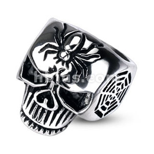 Spider Web Skull Cast Ring 316L Stainless Steel