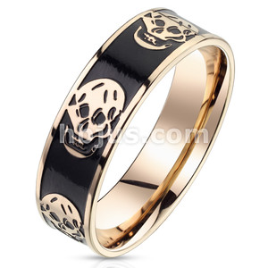 Black Enamel Center with Skulls Rose Gold Stainless Steel Ring