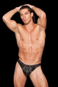 Mens Black Faux Leather Studded Thong