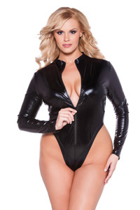 Black Naughty Kitten Extra Large Wetlook Leotard