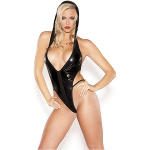 Black Wet Look Lycra Hooded Teddy