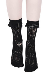 Amora Frilly Black Lace Ankle Socks