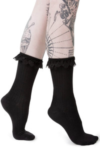 Cruella Black Knit Ankle Socks