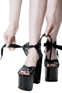Wicked Web Black Platforms Sandals