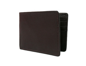 Men's Bi Fold Brown Leather Wallet w/ Picture Flap