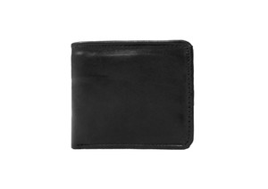 Men's Black Bi Fold Leather Wallet w/ Picture Flap