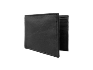Men's Black Bi Fold Leather Wallet w/ Zipper