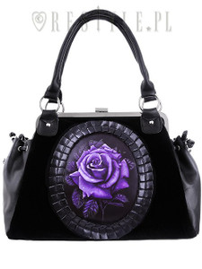 Purple Rose Black Velvet Hand Bag