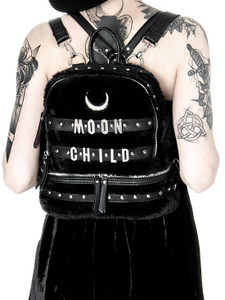 Moon Child Black Gothic Fur Backpack