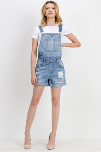Destroy wash with cuffed overall shorts