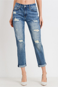 Roll-Up Slim Fit Boyfriend Jeans with Destroyed Detail