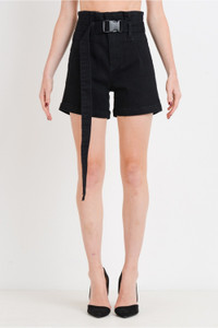Paper Bag Self Belted Denim Shorts