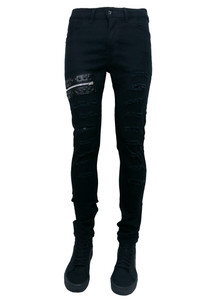 Black Mens Zippered and Distress Skinny Jeans