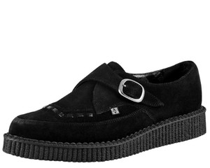 T.U.K. Shoes - A8139 Black Suede Pointed Creepers