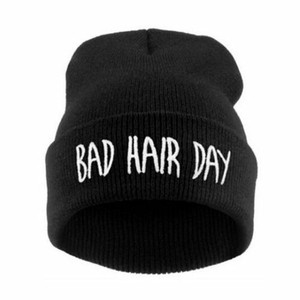 Bad Hair Day Black Beanie Embroidered