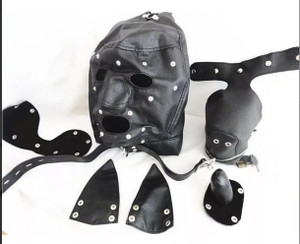 Black Bondage Dog Mask