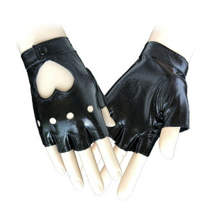 Fingerless Black Faux Leather Heart Cut Out Gloves