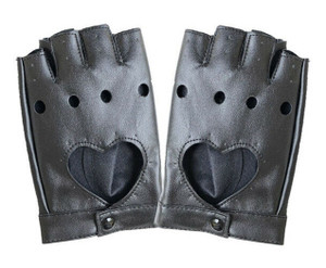 Heart Cut Out Gloves with Circular Knuckle Cut Outs
