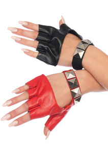 Harley Quinn Red and Black Gloves