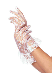 White Ruffled Lace Gloves