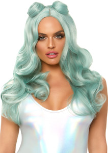 "24"" Pastel Green Beachy Wave Wig with Buns"