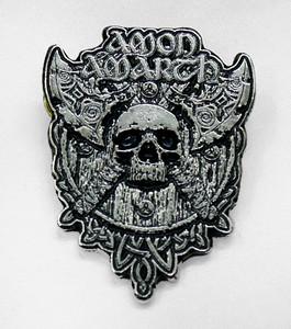 "Amon Amarth - Skull 3.5x4.5"" Metal Badge Pin"