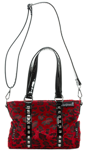 Red Leopard Print Studded Purse
