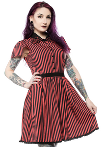 Black and Red Striped Spiderweb Lydia Dress