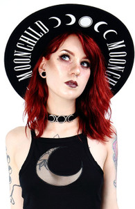 Moon Child Black Hat with Wide Brim