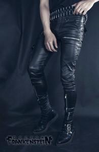 Diesel Black Faux Leather Men's Zippered Pants