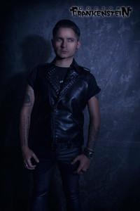 Black Vegan Leather Vest with Black Spikes
